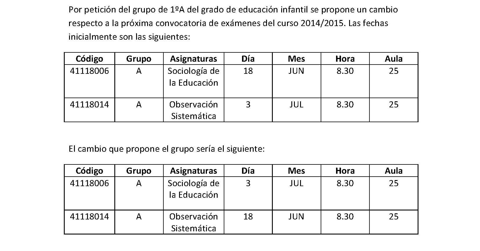 Cambio exámenes permuta entre 41118006 y 41118014 junio 2015